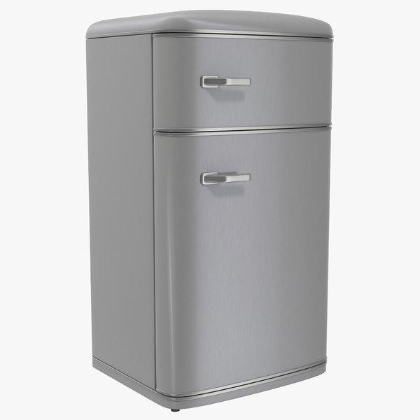 3d retro refrigerator aluminium
