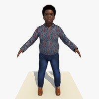 3d model of african boy rigged male