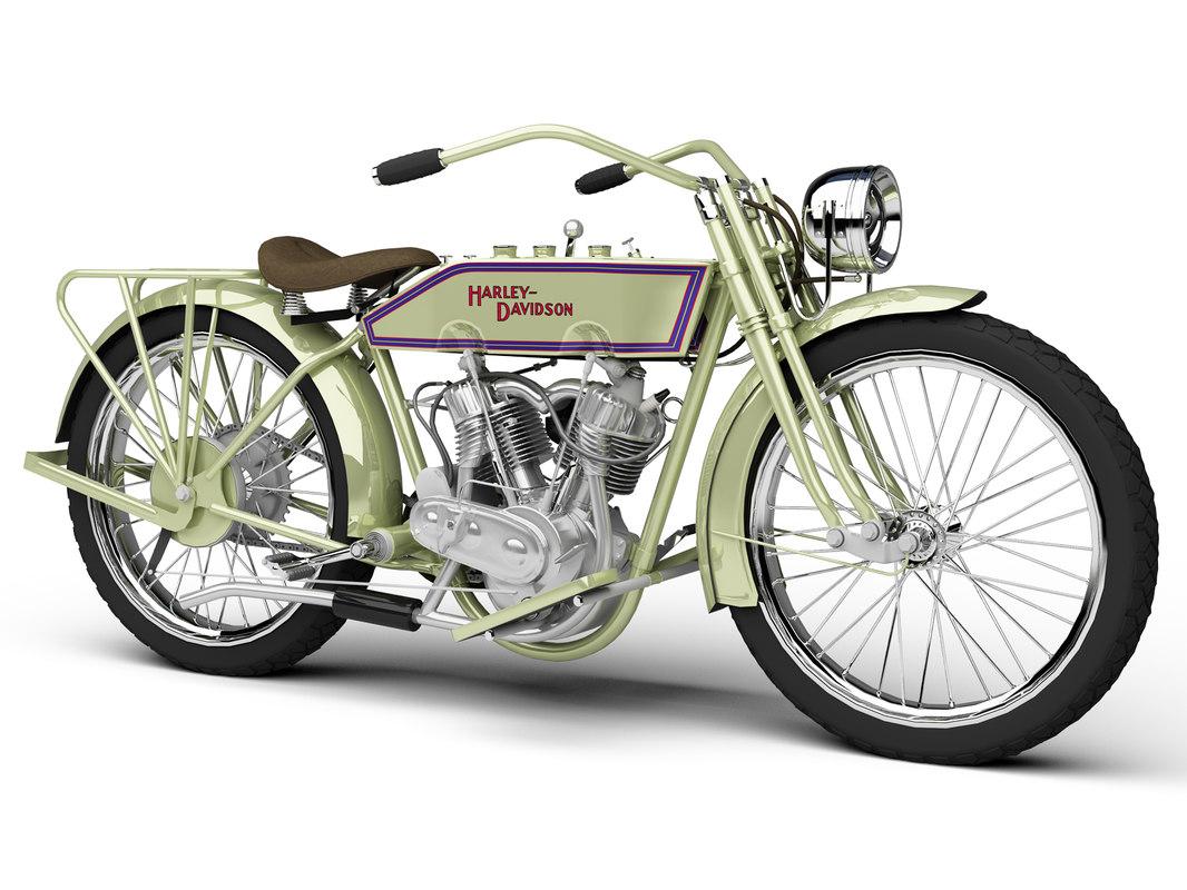 3d model harley-davidson 11j 1915 motorcycle