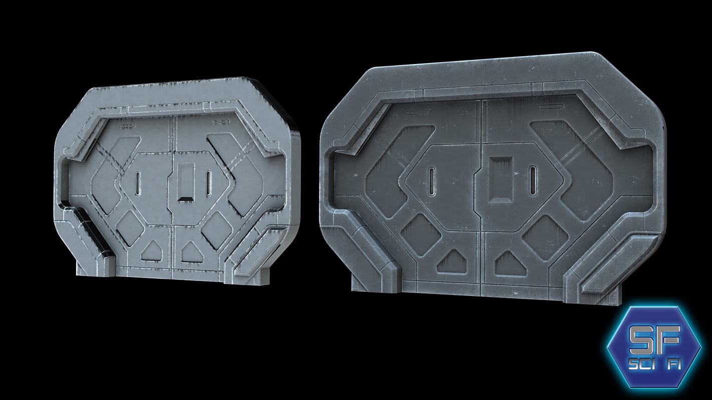 sci fi gate door 3d max