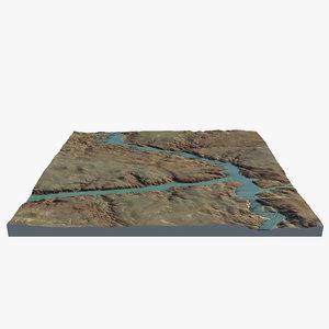 3d land river