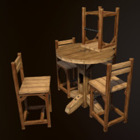 3d model rustic pub table