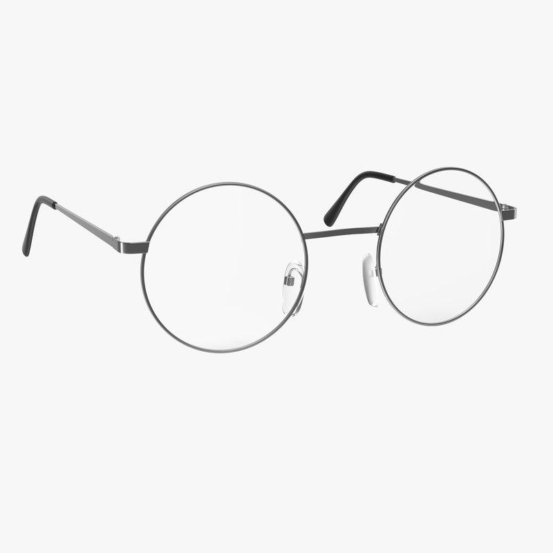 glasses modeled realistic 3d model
