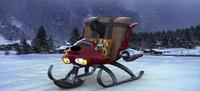 3d model turbo sleigh santa