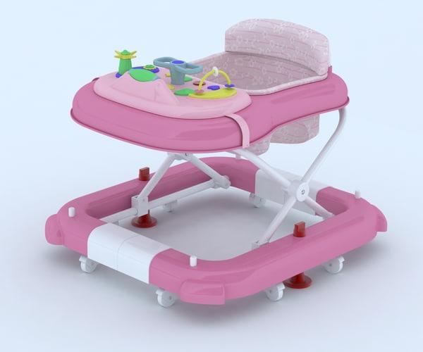 3d model baby walker walk