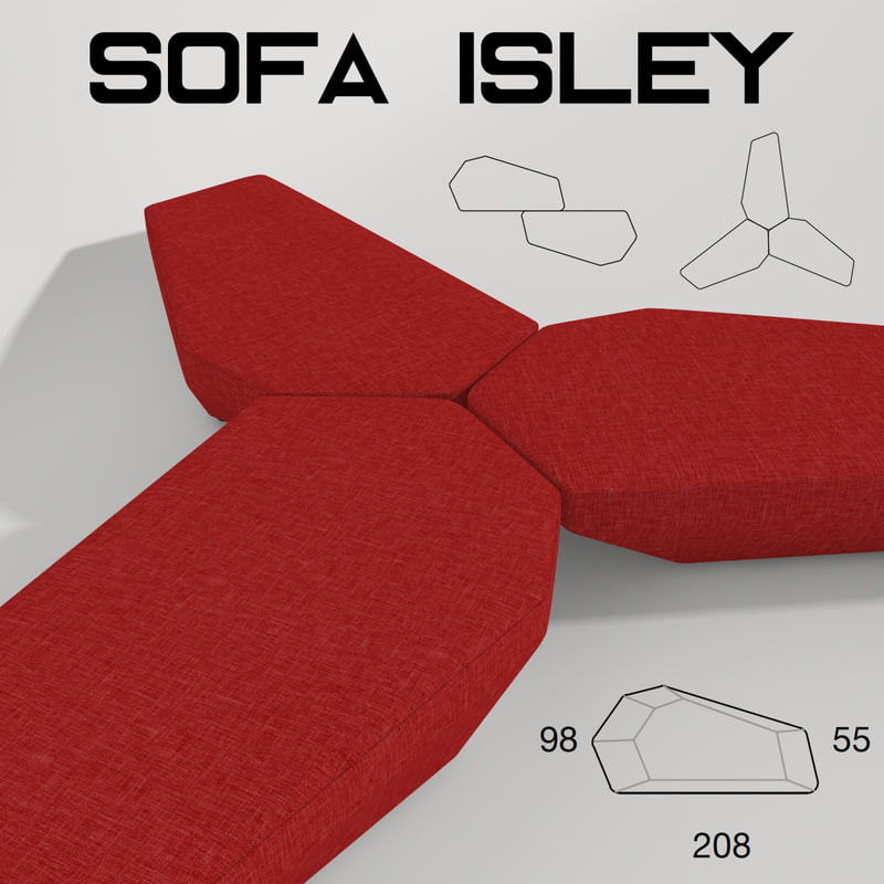 sofa isley 3d 3ds