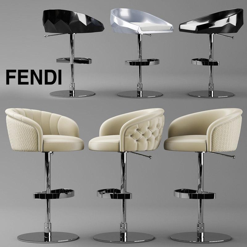 bar chair fendi 3d max