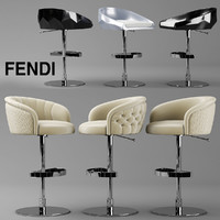 bar chair fendi 3d max