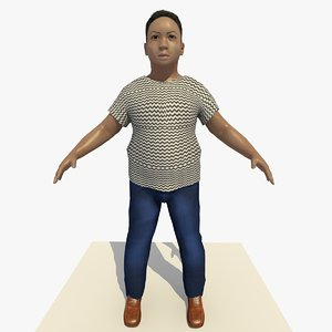 3d model asian arab boy frank