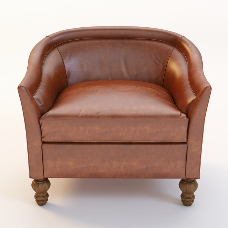 3d model leather holloway armchair