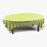 table tablecloth oval 3d model