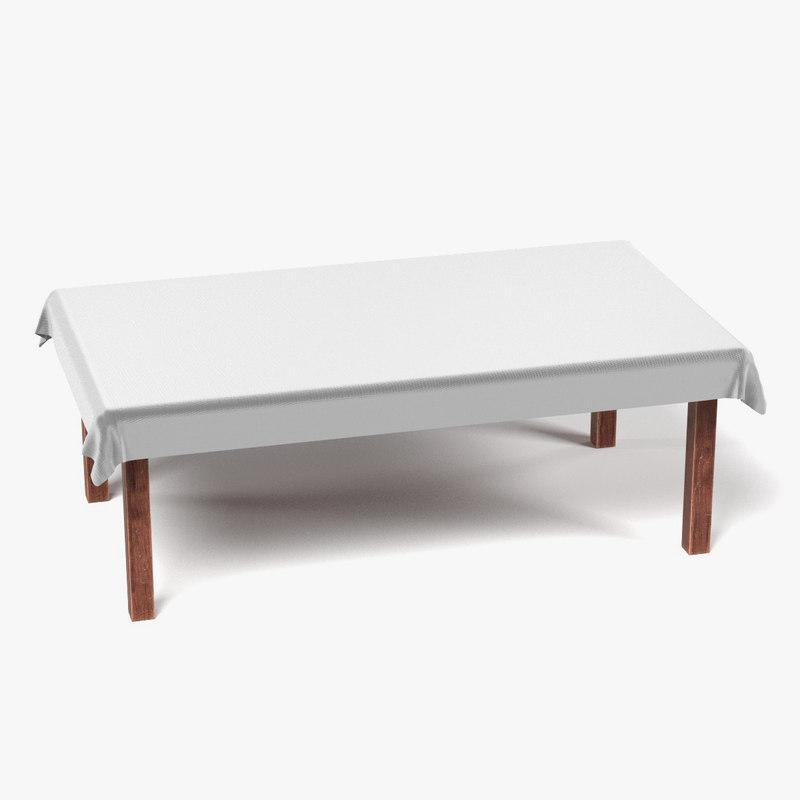 3d model table tablecloth rectangular