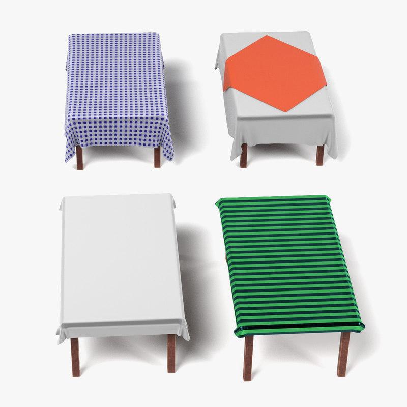 3d 3ds tables tableclothes rectangular