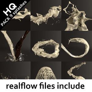 splash pack realflow flow 3d max