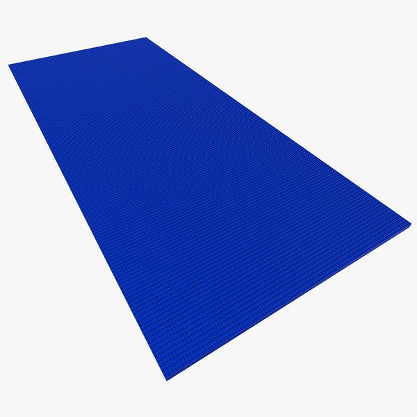 3d flat yoga mat blue model