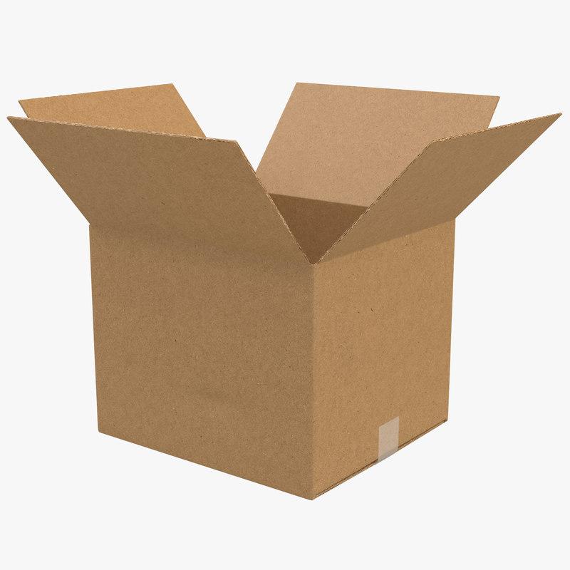 3d open cardboard box