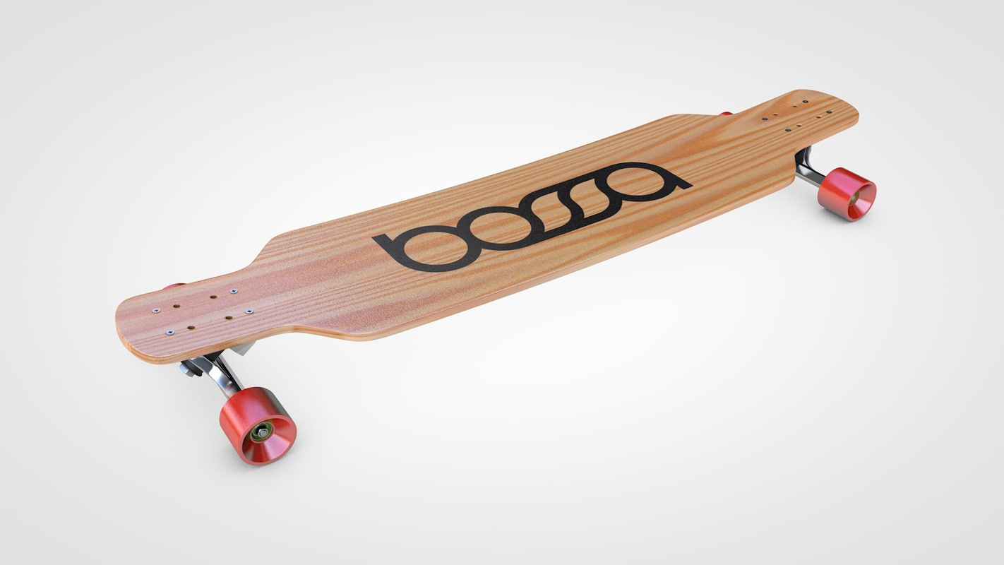 3d model longboard skateboard skate