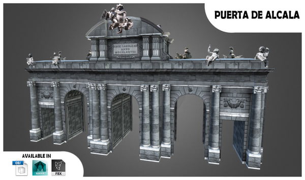 3ds max monument madrid spain