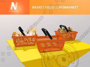 basket food supermarket c4d