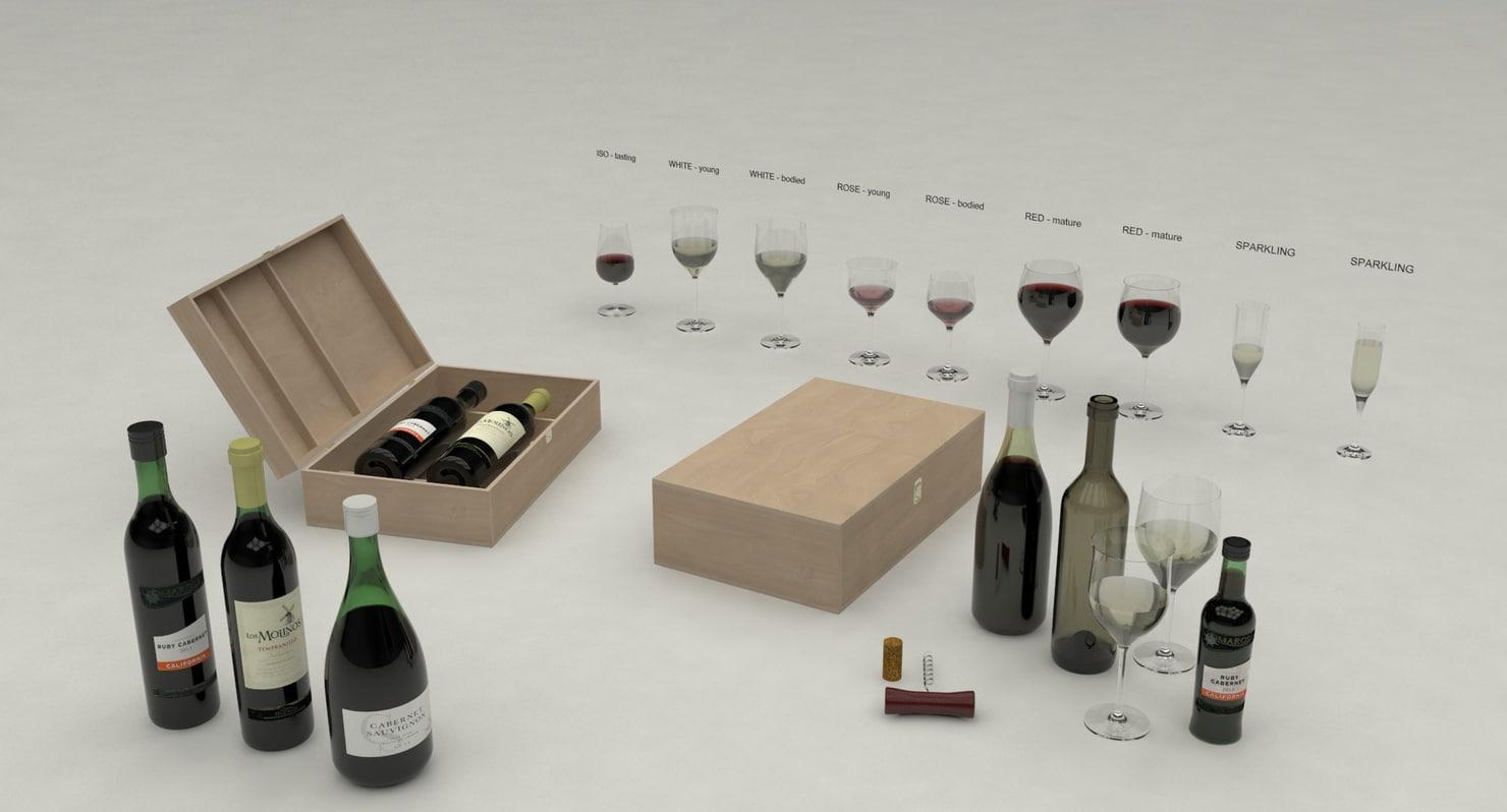 wine glasses settings 3d 3ds