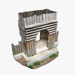 door 4 - wooden 3d model