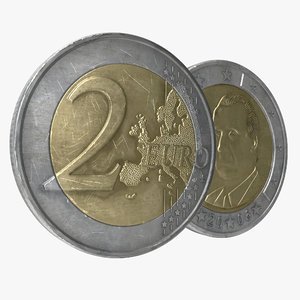 2 euro coin spain 3d model