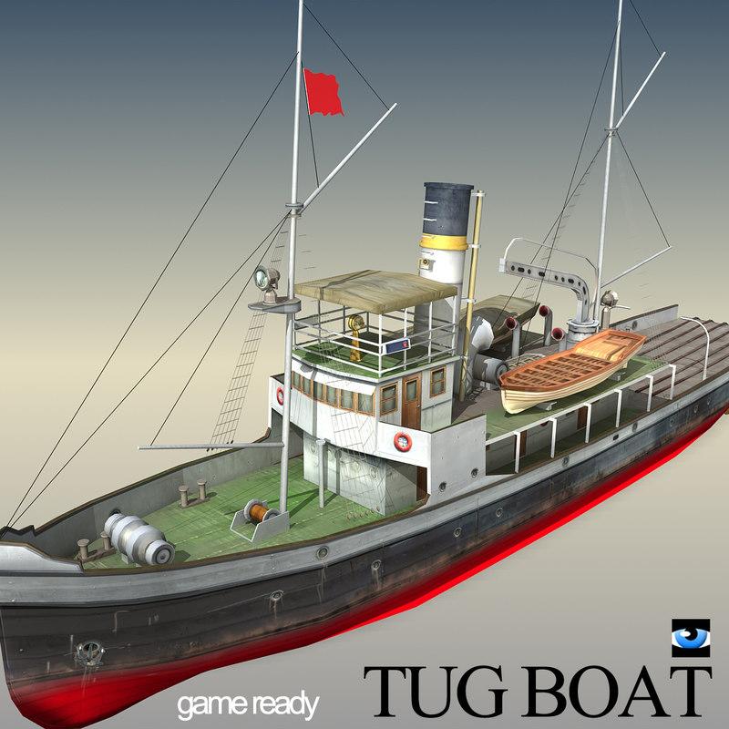 3ds older time tug boat
