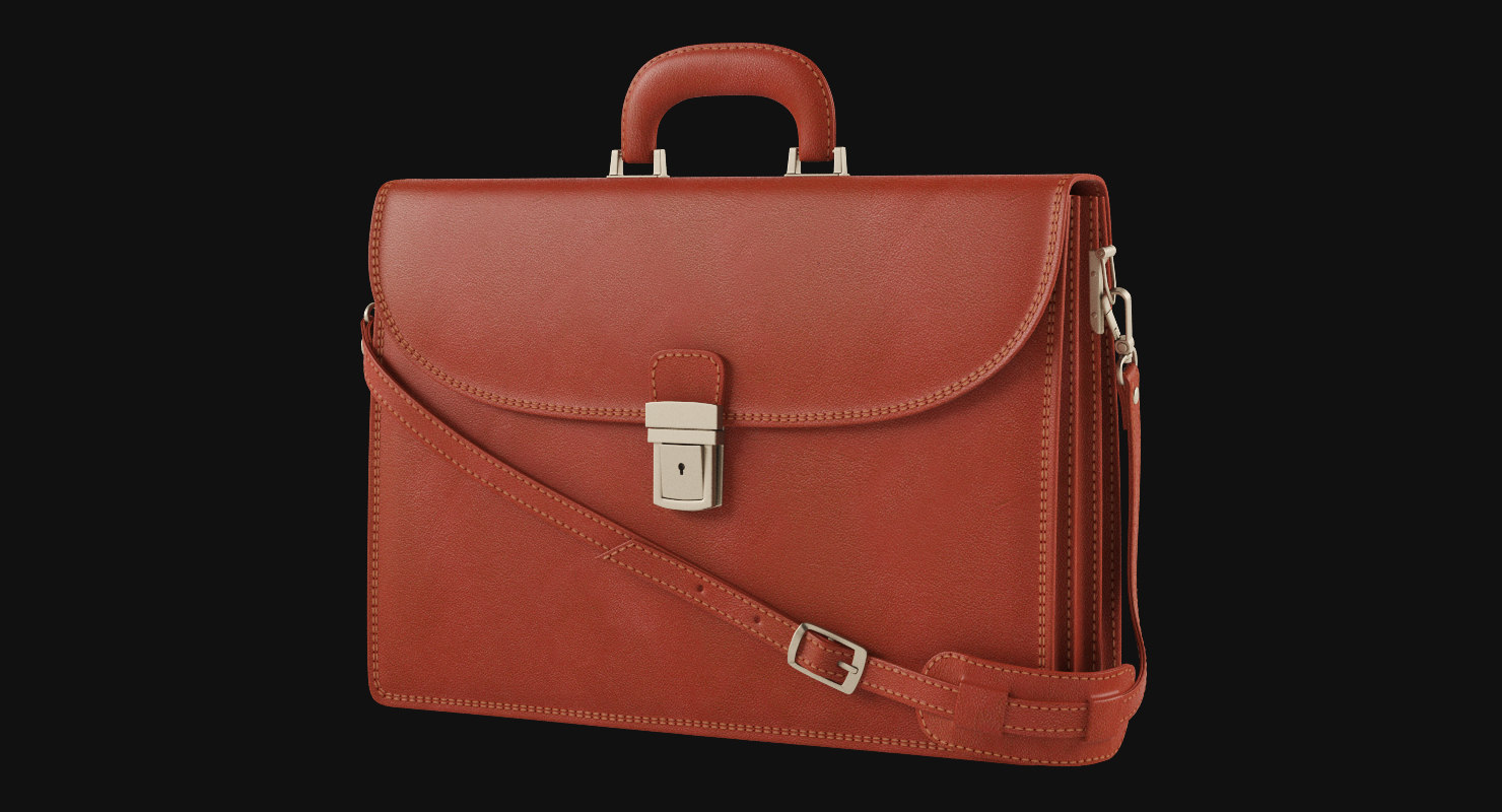 3d model leather briefcase