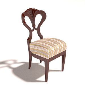 3d model antique wooden chair