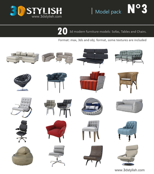 20 furniture pack 3d max