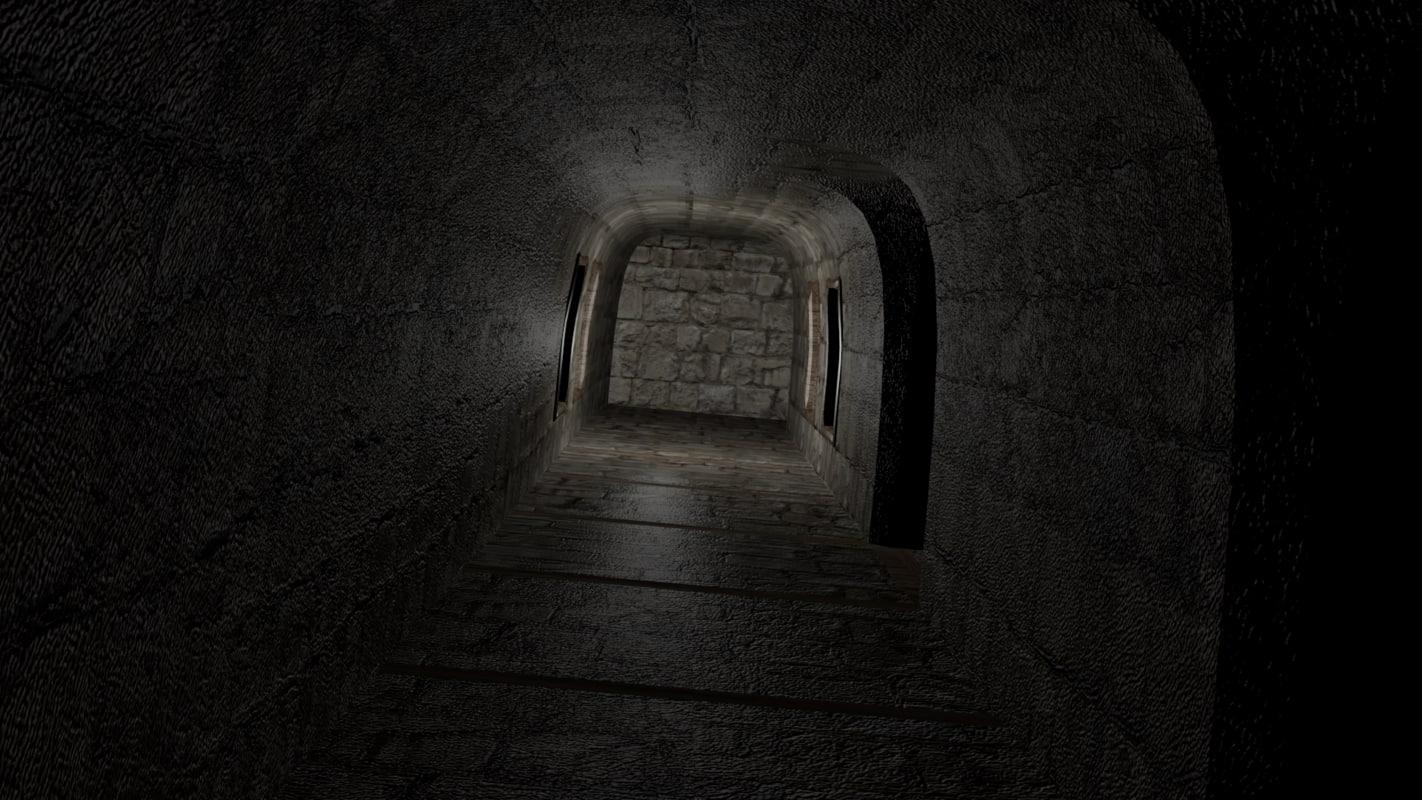modular corridor - medieval 3d 3ds