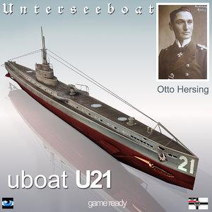 3d model of u 21 submarine german