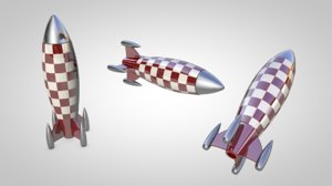 retro toy rocket 3d c4d
