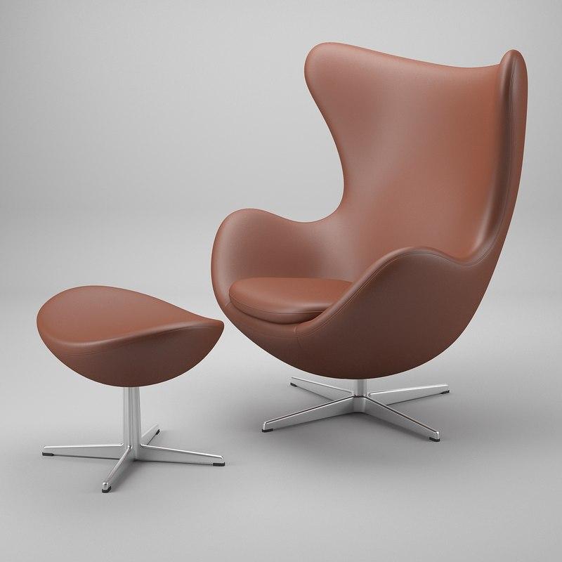 3d model egg chair arne jacobsen