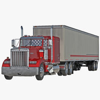 Truck Kenworth W900 and Semi Trailer