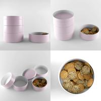 3d kitchen bowls model