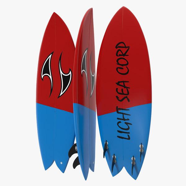 3d model surfboard fish 2
