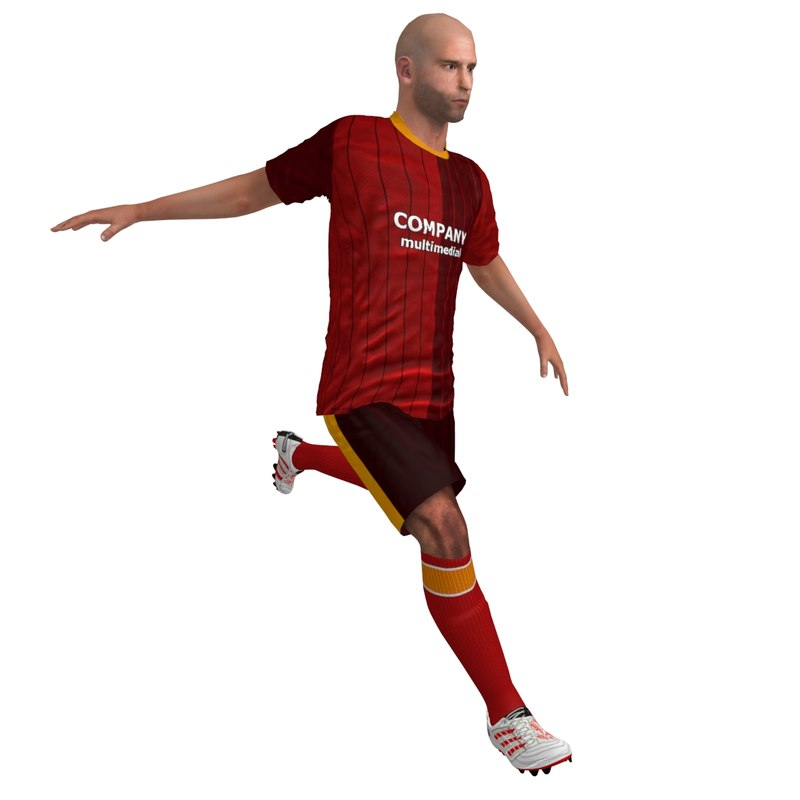3d rigged soccer player model