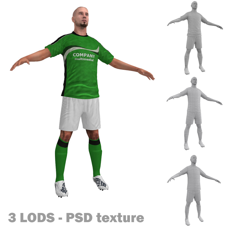soccer player 3 3d max
