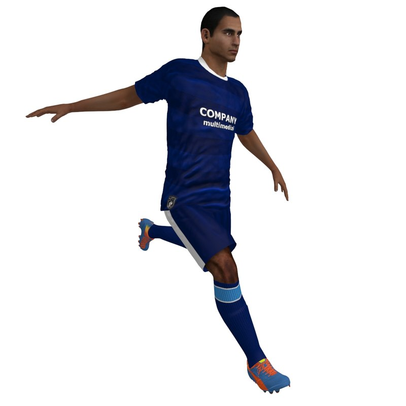 rigged soccer player 6 3d model