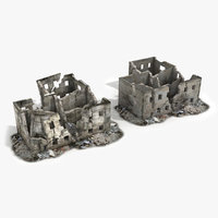 ruined building world war 3d model
