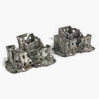 ruined building world war 3d model