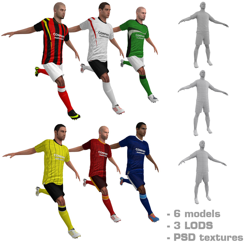 3d rigged soccer players model