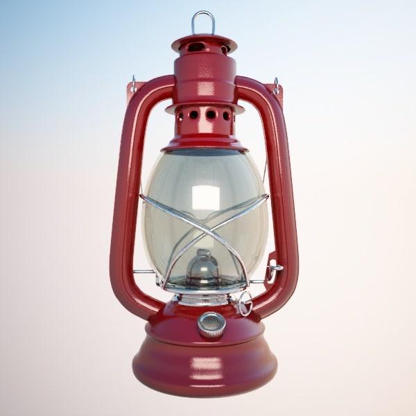 3dsmax oil lamp red