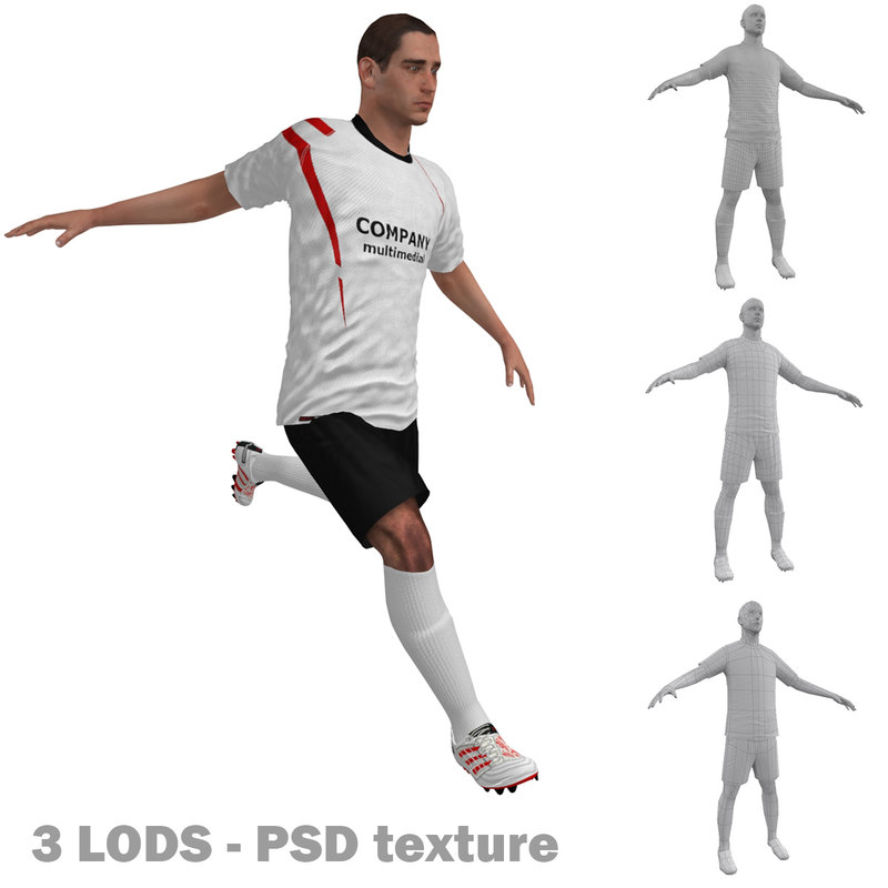 rigged soccer players 2 3d model