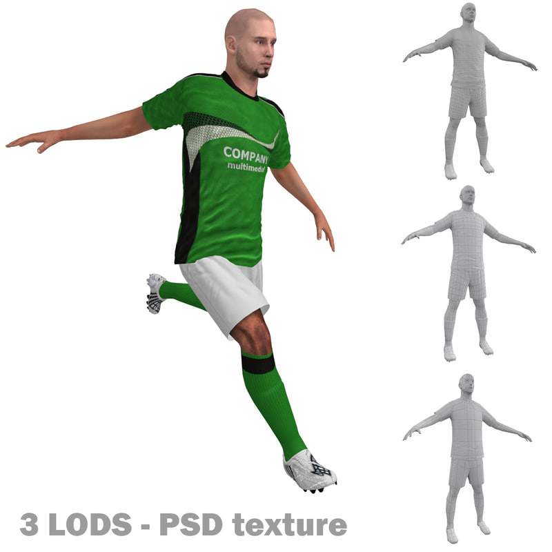 3d model rigged soccer players 3