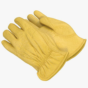 leather work gloves 3d model