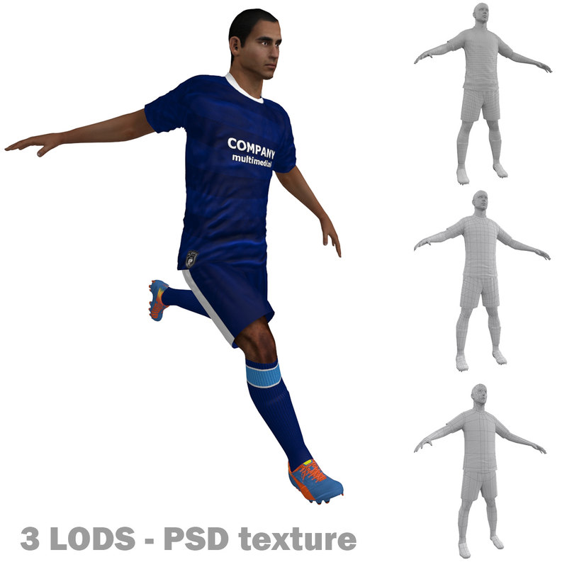 3d rigged soccer players 6 model