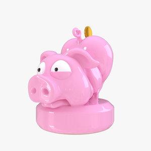 3d funny piggy bank model