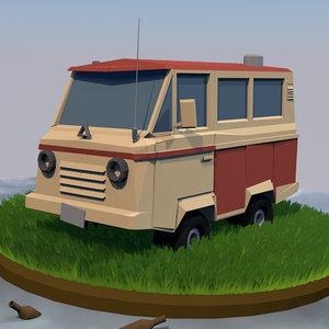 low-poly van 3d 3ds